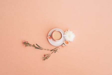 Pink background coffee