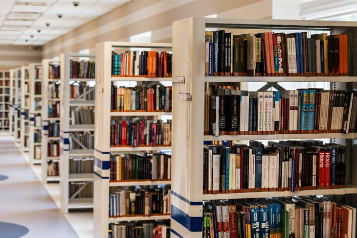 book stacks in a library