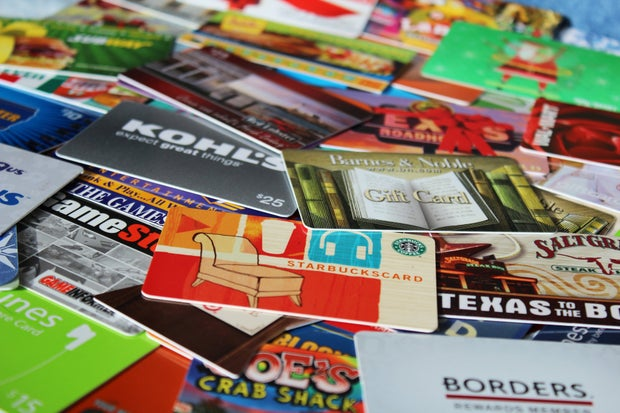 stack of gift cards