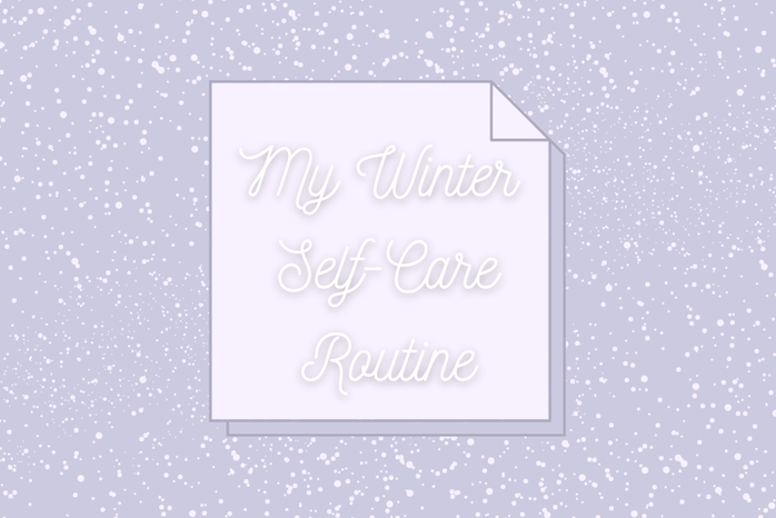 """Purple box with snow background and lighter purple sticky note icon with words \""""My Winter Self-Care Routine\"""""""