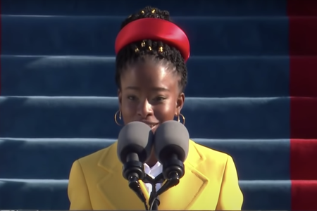 youth poet laureate amanda gorman reading at Joe Biden's presidential inauguration