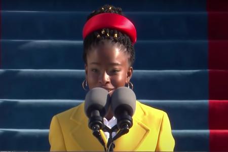 youth poet laureate amanda gorman reading at Joe Biden's presidential inauguration