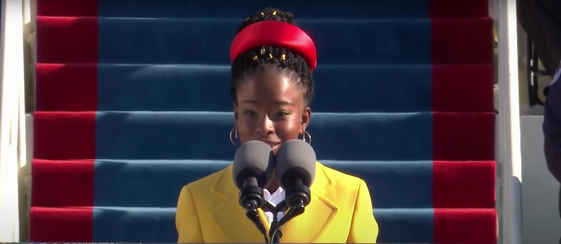youth poet laureate amanda gorman reading at Joe Biden\'s presidential inauguration