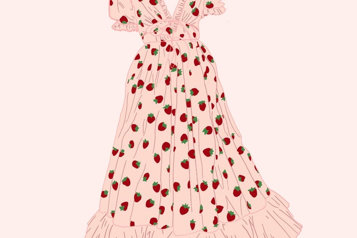 This image is a drawing of the Strawberry Dress from the designer Lirika Matoshi. I drew this image myself.