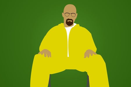 Man in yellow sitting against green background, art