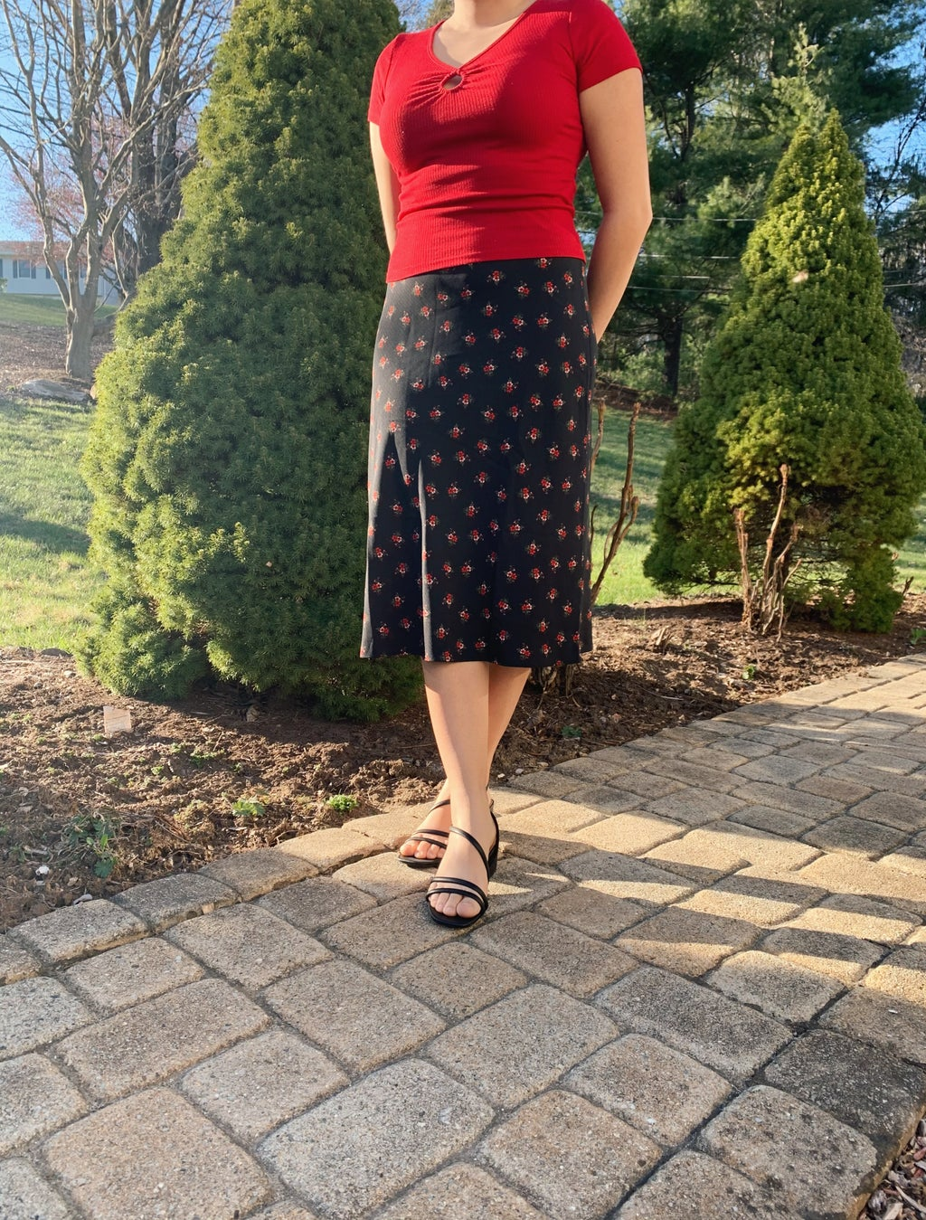 Woman wearing spring outfit