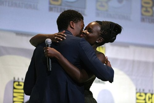 Chadwick Boseman and Lupita Nyong\'o hugging