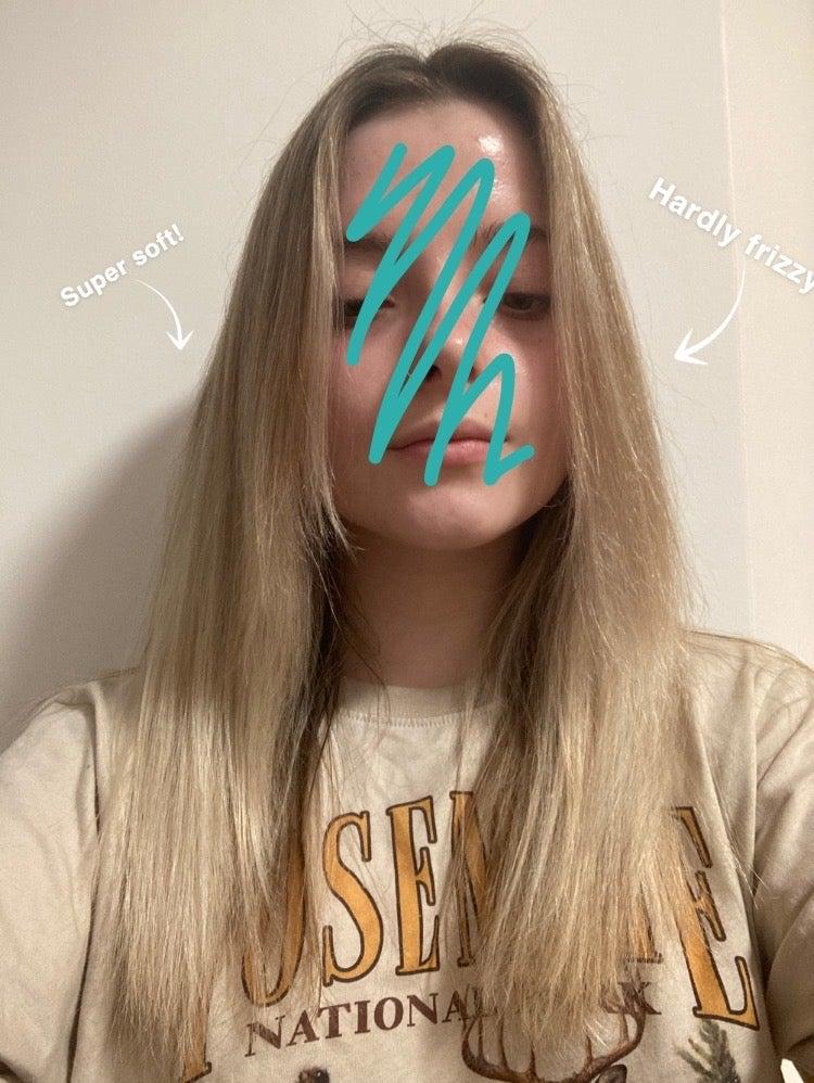 Blonde hair on woman