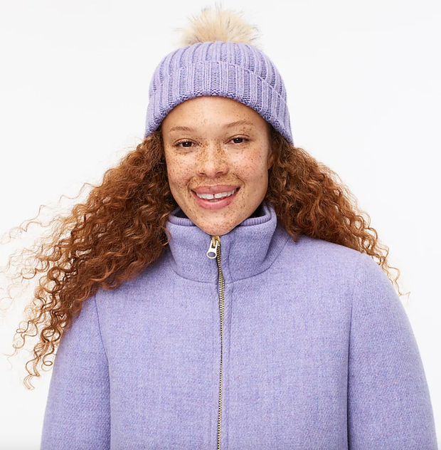Purple jcrew beanie with pom pom