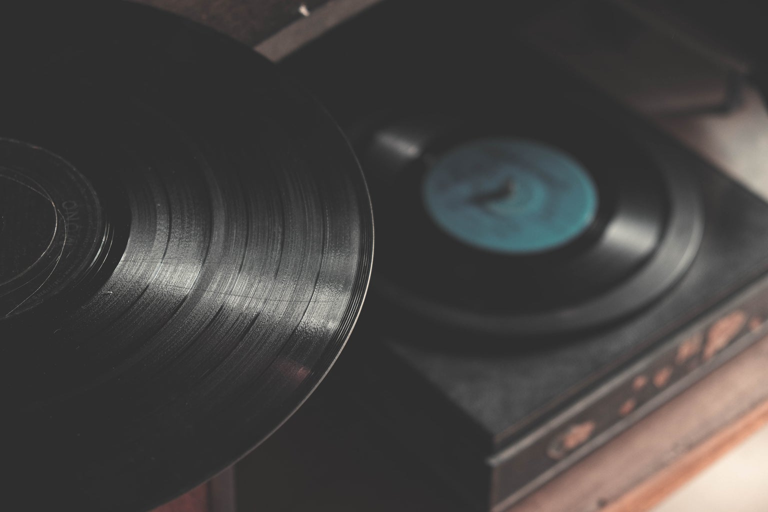 records on record player