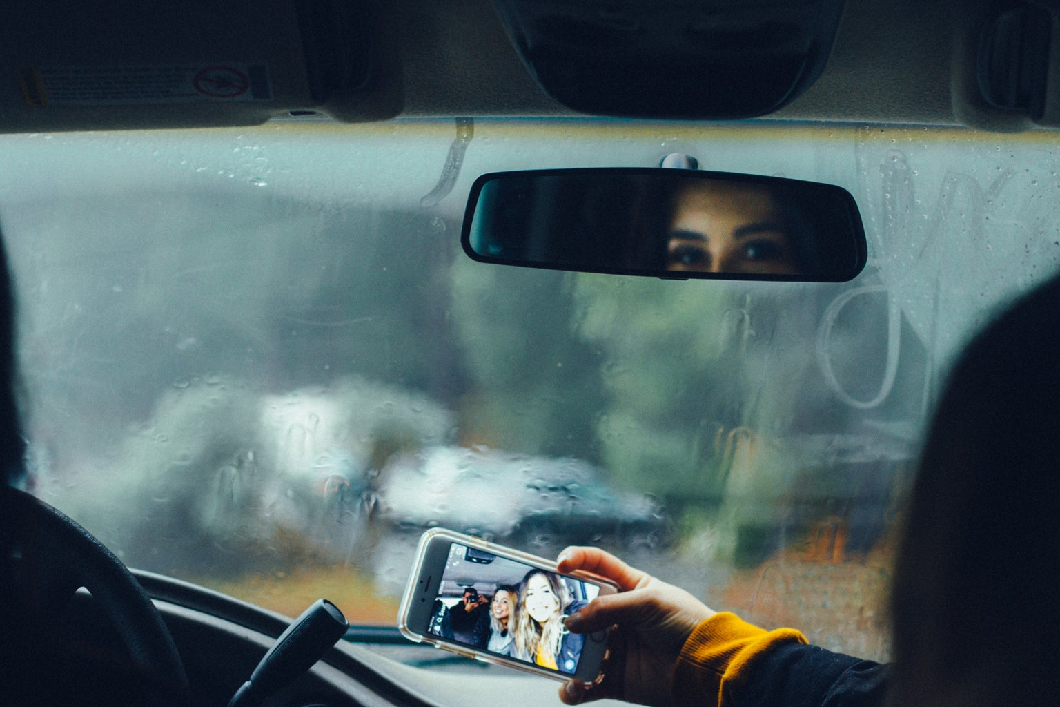 car, selfie, friends, rain