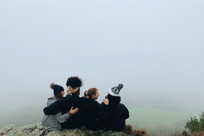 Friends on hillside