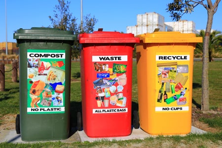 Brightly colored waste bins