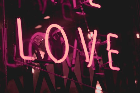 pink neon love sign