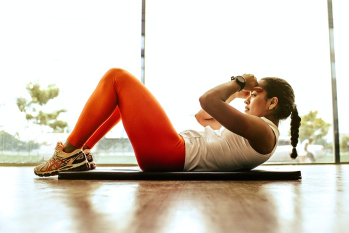woman doing indoor workout
