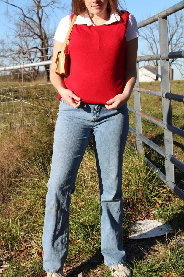 fall thrift outfit sweater vest