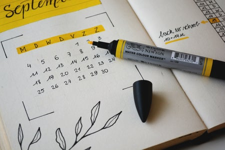 calendar with yellow