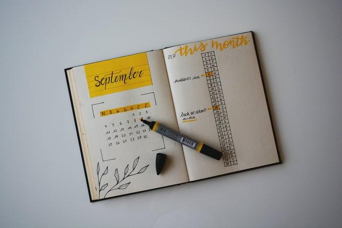 Journal opened to September