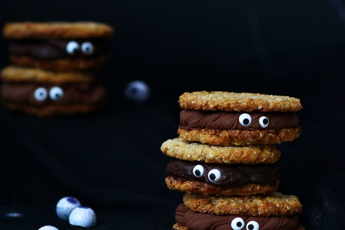 halloween baked good / treat of cookie and chocolate with pretend eyeballs