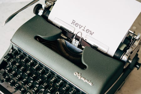 typewriter with word review