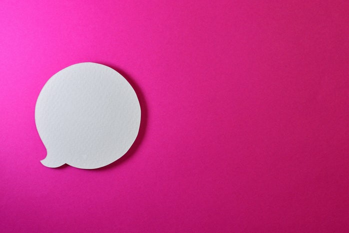 pink background with a white speech bubble