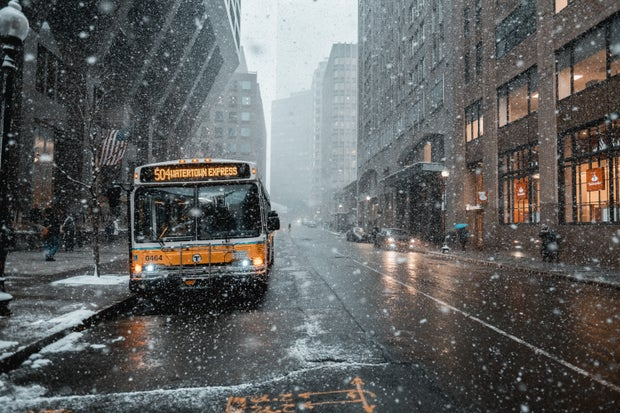 Winter bus standing on the side of the road