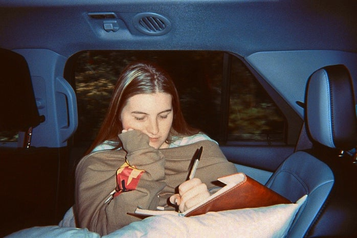 Author of article journaling in car