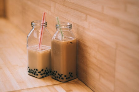 Boba tea, boba, straw, glass cup