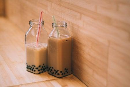 Boba tea, boba, straw, glass cup