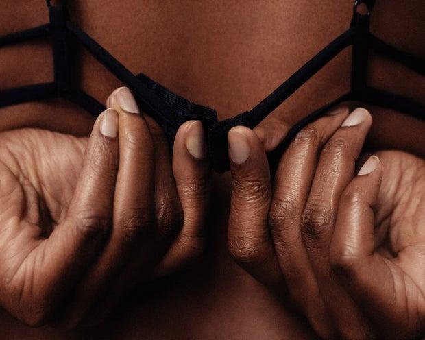 Black women in bra