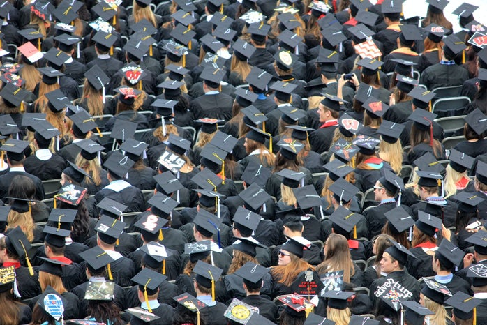 aeriel view of graduates at ceremony wearing caps and gowns