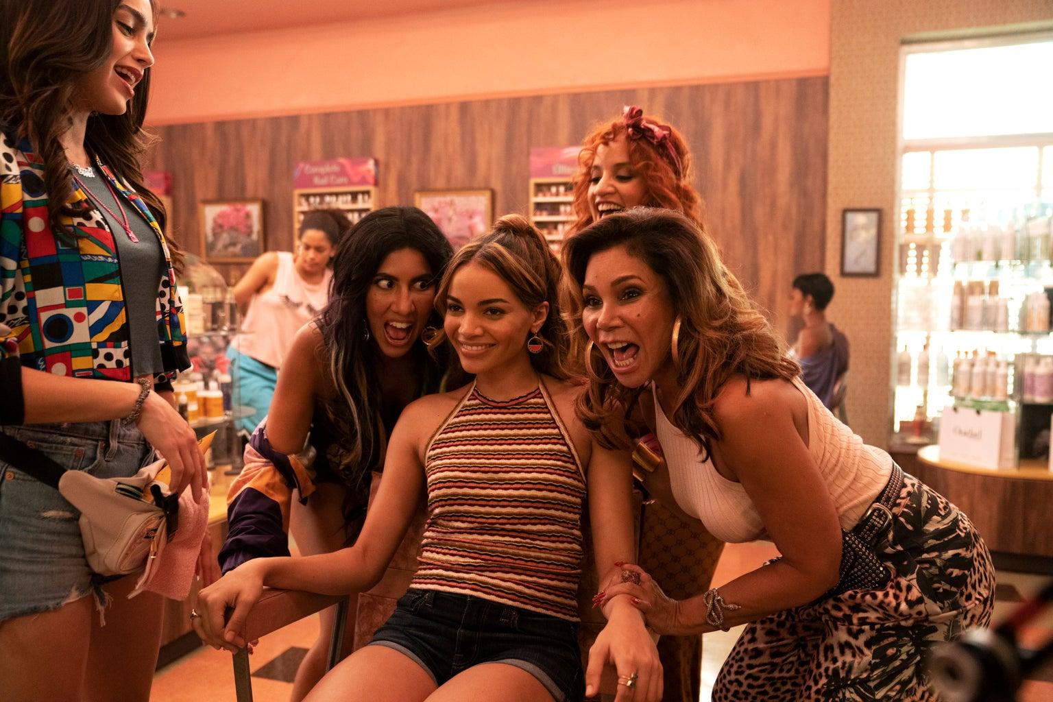 In the Heights Picture Seven: Melissa Barrera, Stephanie Beatriz, Dascha Polanco, Leslie Grace + Daphne Rubin-Vega