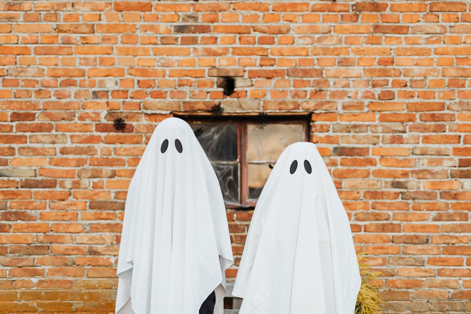 Two Ghosts Standing in Front of a Brick Wall