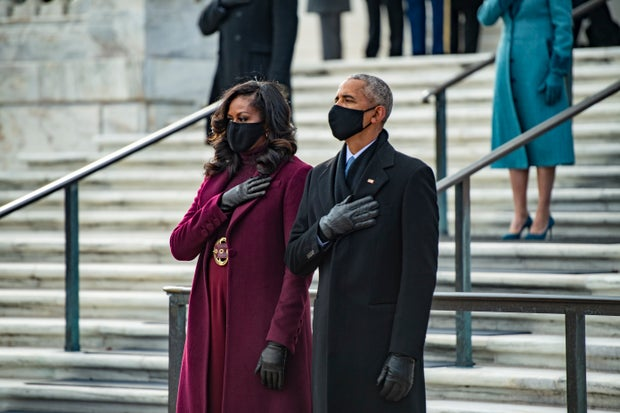 Michelle Obama and Barack Obama at the 2021 Inauguration