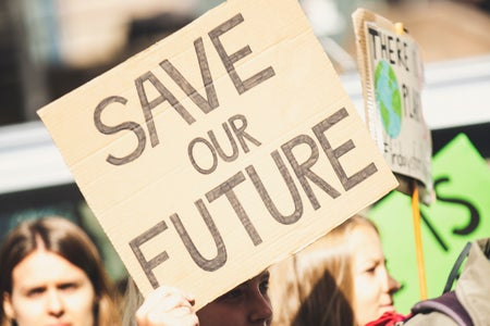 """sign that says """"save our future"""""""