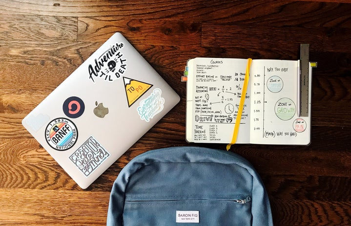 Image of laptop, backpack, and notebook on desk