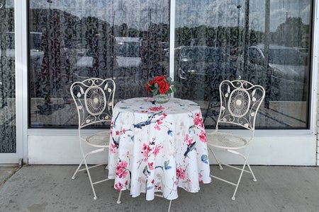 A table for two outside of a teahouse in Houston, Texas
