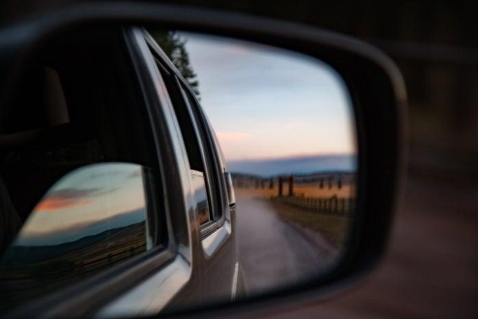 car mirror reflection