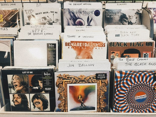 CDs at a record store