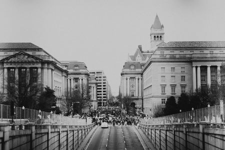 black and white city with people