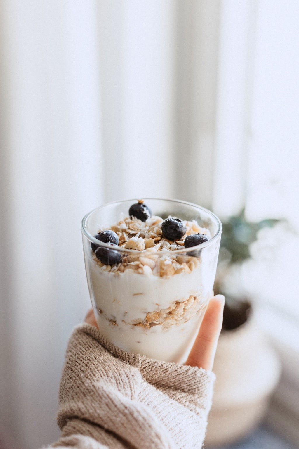 Healthy food in clear drinking glass