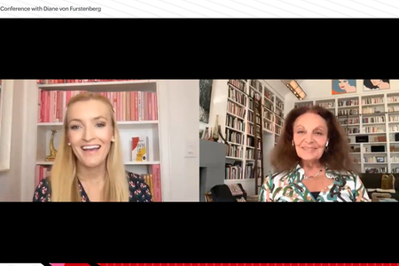 Diane von Furstenberg and Windsor Hanger Western in conversation in a webinar
