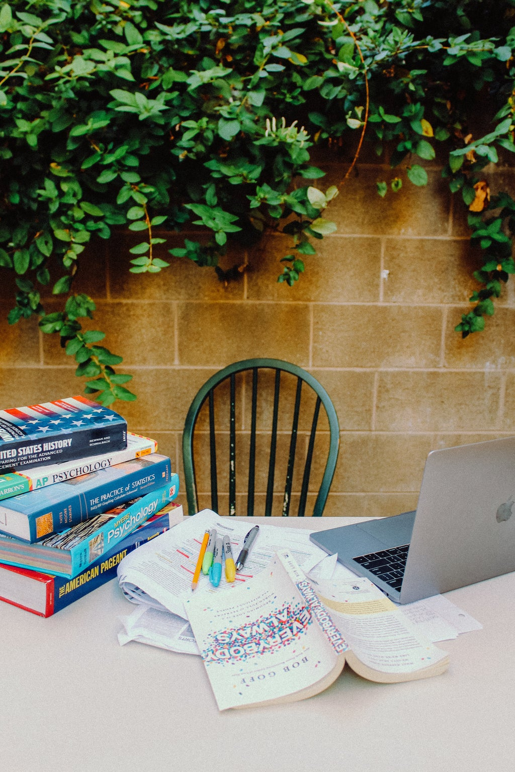 Desk with books