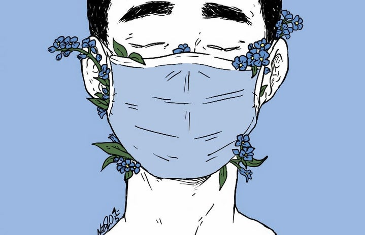 forget-me-nots coming out of a mask