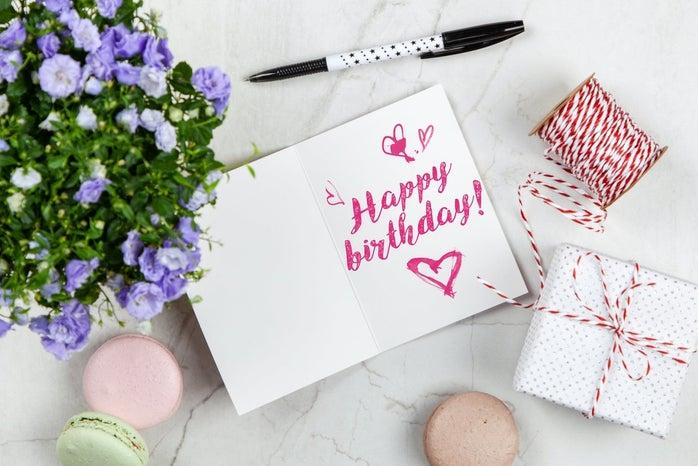 Happy birthday written in a card
