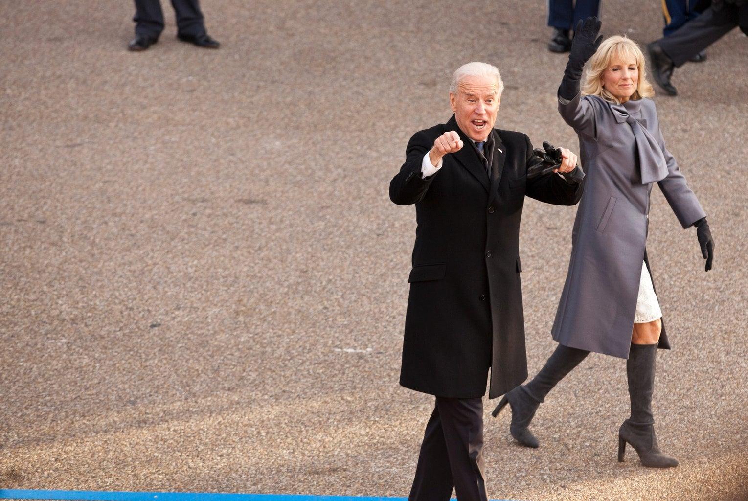 Joe and Jill Biden walking in 2013 inauguration