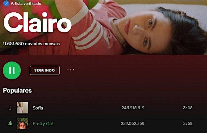 Print of Clairo\'s profile on Spotify