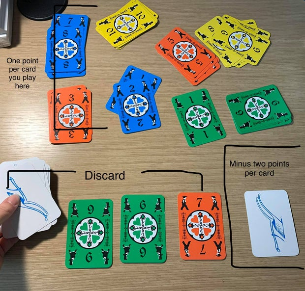 Dutch Blitz card with instructions on how to play the cards