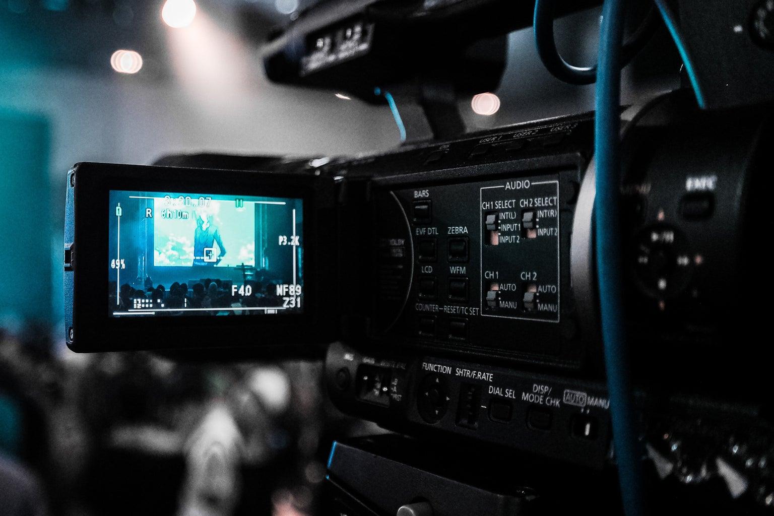 Camera filming a scene