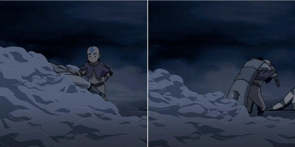 Aang running toward Zuko (left panel), Aang picking up Zuko (right panel)
